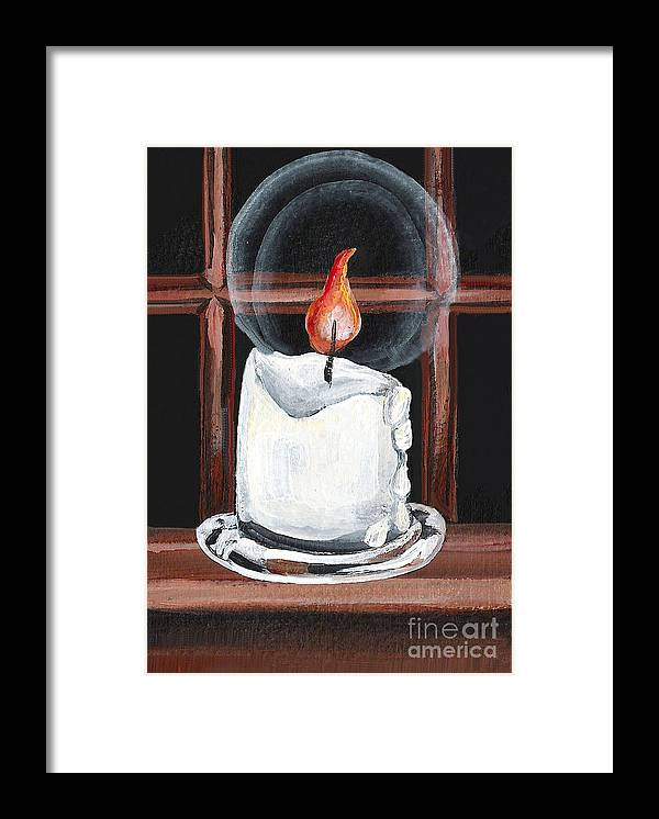 Candle Framed Print featuring the painting Glowing Candle In Window by Elaine Hodges