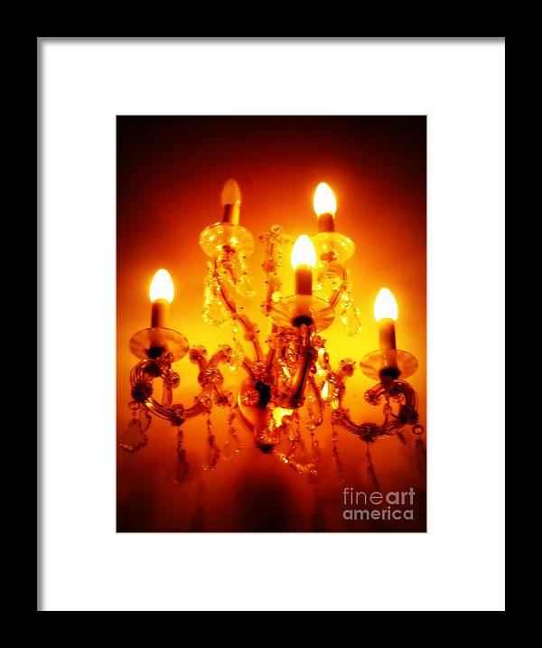 Chandelier Framed Print featuring the photograph Glowing Chandelier by Carol Groenen