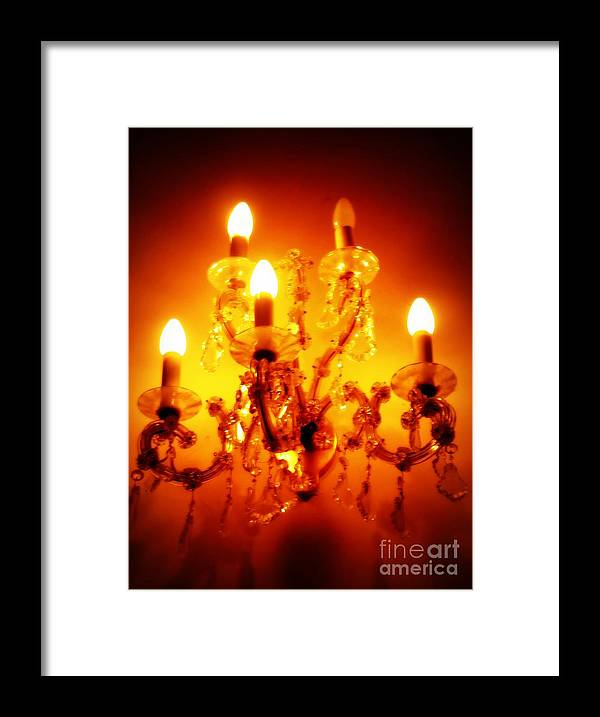 Dining Room Decor Framed Print featuring the photograph Glowing Chandelier--Companion Piece by Carol Groenen