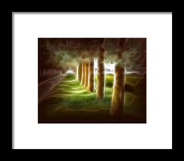 Evening Landcape Framed Print featuring the digital art Glowing Forest by Carola Ann-Margret Forsberg