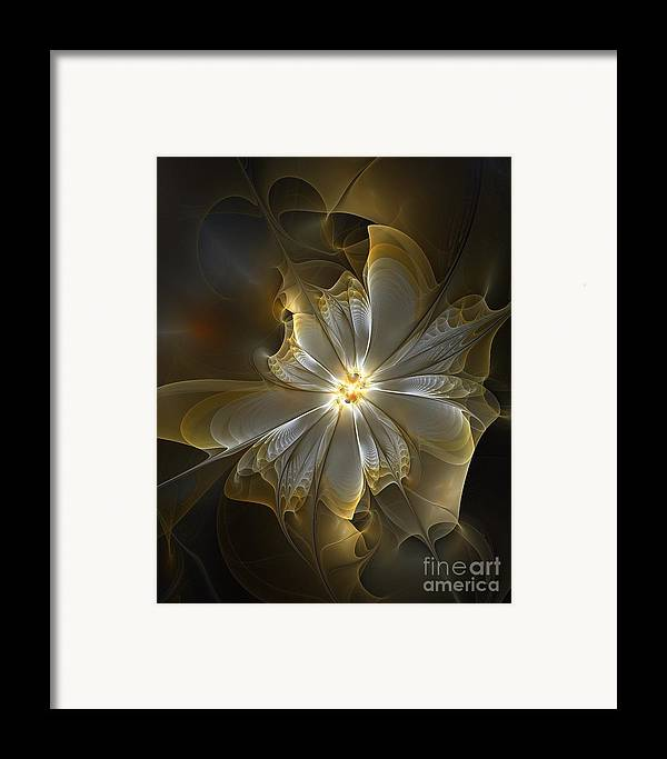 Digital Art Framed Print featuring the digital art Glowing In Silver And Gold by Amanda Moore