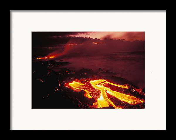 Active Framed Print featuring the photograph Glowing Lava Flow by Peter French - Printscapes