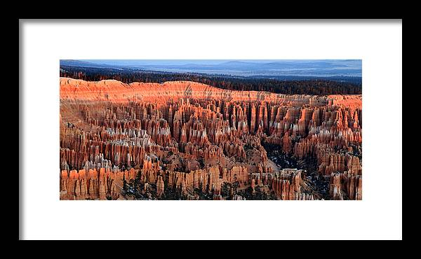 Bryce Framed Print featuring the photograph Glowing Sunrise In Bryce Canyon by Pierre Leclerc Photography