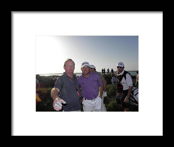 Emirates Invitational Framed Print featuring the painting Gmac Mark Robinson And Ken by Mark Robinson