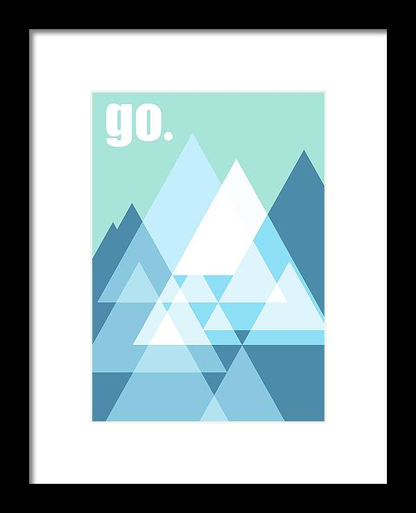 Mountains Framed Print featuring the digital art Go by Nomade Graphics