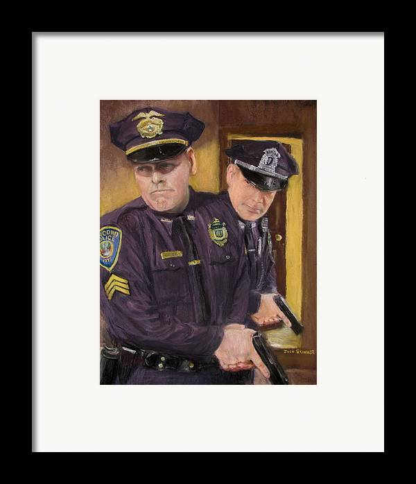 Law Enforcement Framed Print featuring the painting Go On Three...1....2.... by Jack Skinner