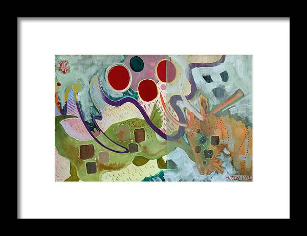 Abstract Expressionist Dream-surreal Framed Print featuring the painting Goat Squad by Eileen Hale