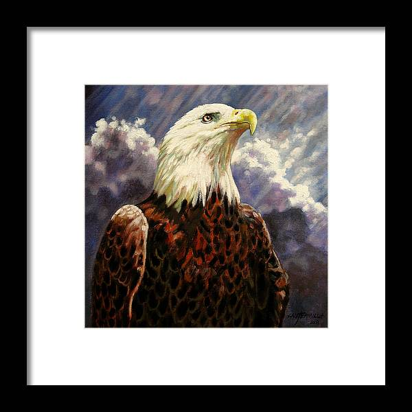 American Bald Eagle Framed Print featuring the painting God Bless America by John Lautermilch