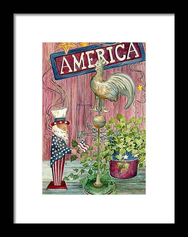 Americana;uncle Sam;america;copper Rooster;ivy;stars;barn Siding; Weathervane; Framed Print featuring the painting God Bless America by Lois Mountz