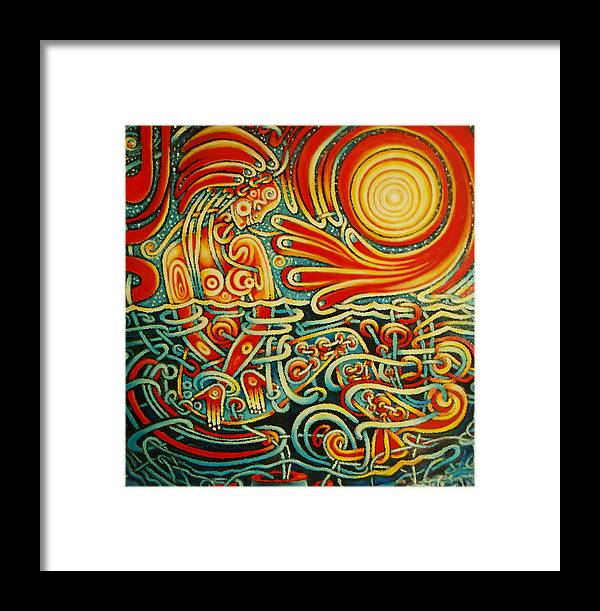 Jojo Savard Famous Psychic Astrologer Tv Personality Art Welcoming Hand Of God Reaching Good Soul Acrylic Panting Framed Print featuring the painting God Loves Me by JoJo Savard