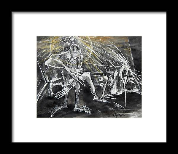 Figures Framed Print featuring the drawing God Of The Wind Environment by Kenneth Agnello