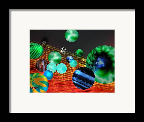 A Tribute To Donovan And His Song cosmic Wheels. A Line In The Song...god Is Playing Marbles With Framed Print featuring the digital art God Playing Marbles Tribute To Donovan by Seth Weaver