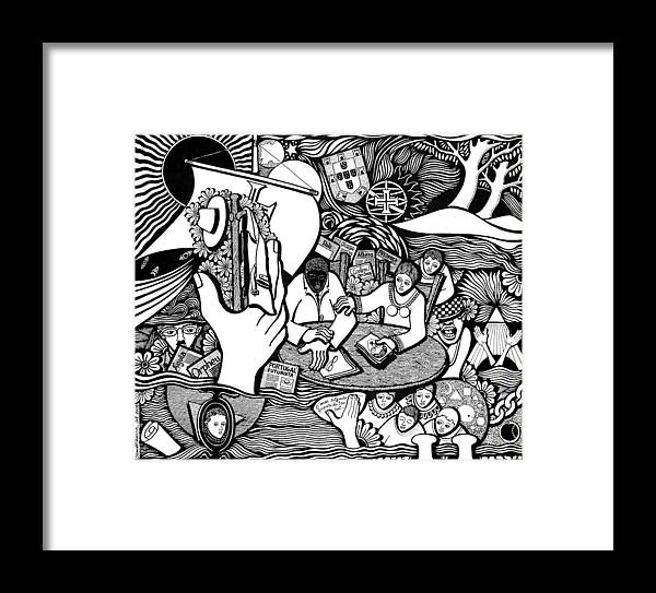 Drawing Framed Print featuring the drawing God Wills Man Dreams The Work Is Born by Jose Alberto Gomes Pereira