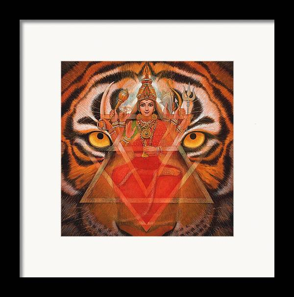 Durga Framed Print featuring the painting Goddess Durga by Sue Halstenberg
