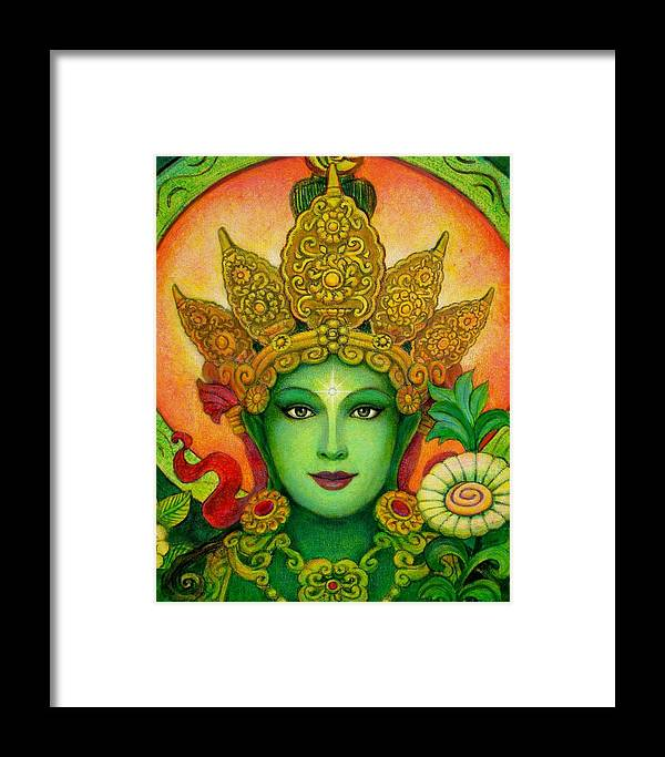 Goddess Framed Print featuring the painting Goddess Green Tara's Face by Sue Halstenberg