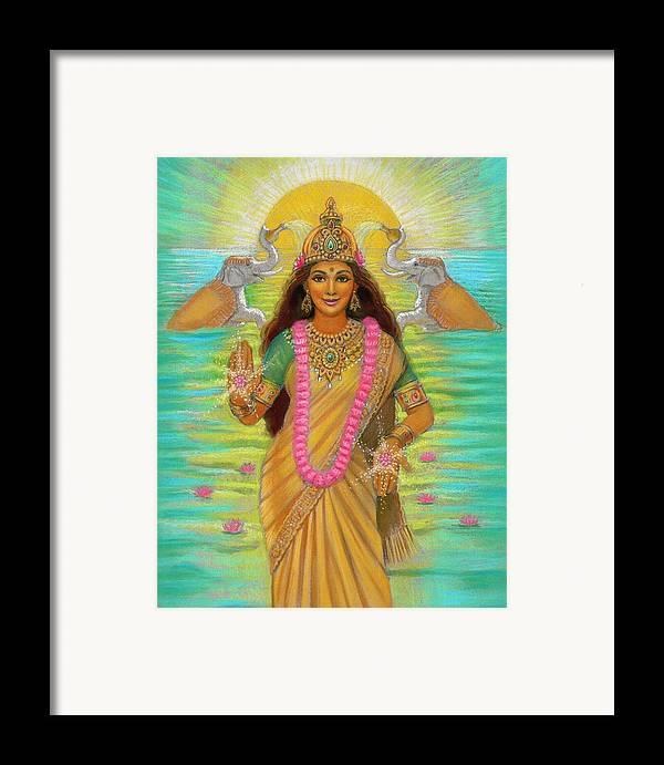 Lakshmi Framed Print featuring the painting Goddess Lakshmi by Sue Halstenberg
