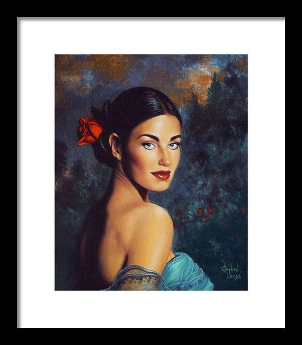 Woman Framed Print featuring the painting Goddess Of The Summer Rose by Stephen Lucas