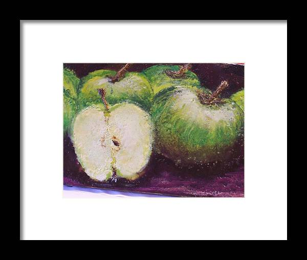 Still Life Framed Print featuring the painting Gods Little Green Apples by Karla Phlypo-Price