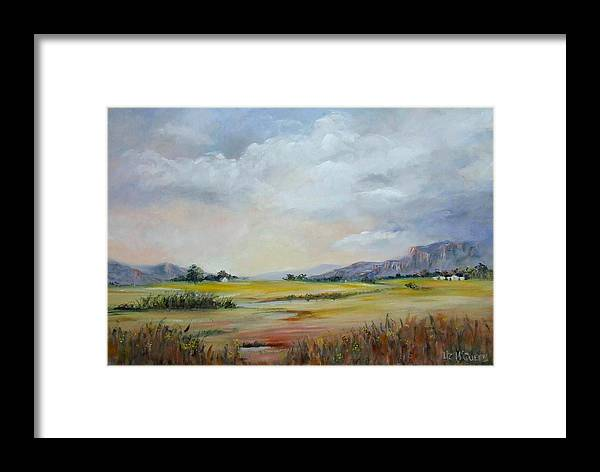 Landscape Framed Print featuring the painting God's Own Country by Liz McQueen