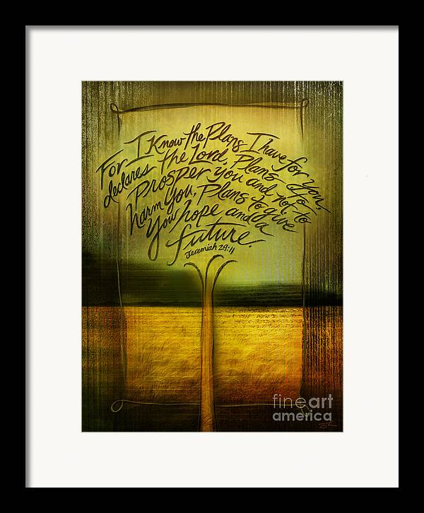 Jeremiah 29:11 Framed Print featuring the mixed media God's Plans by Shevon Johnson