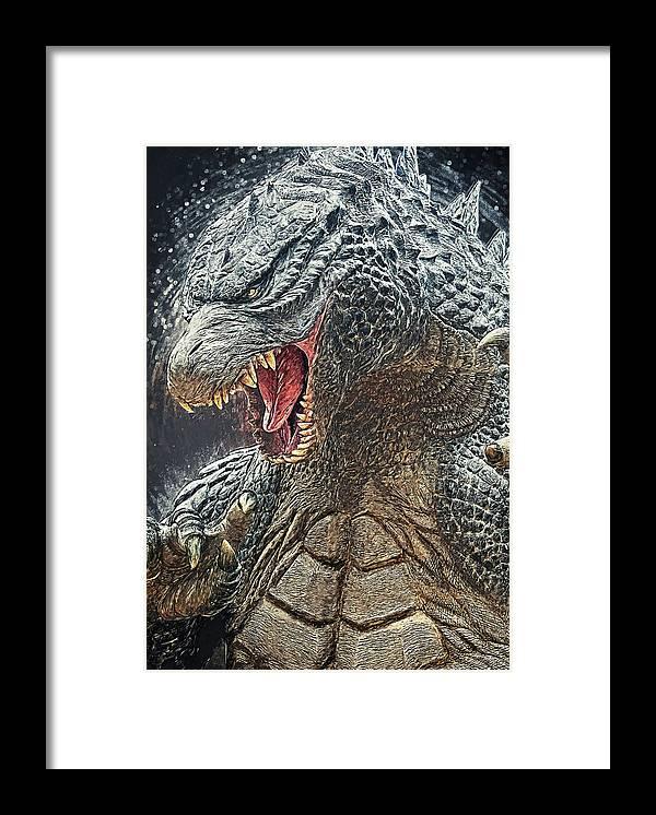 Godzilla Framed Print featuring the digital art Godzilla - King of Monsters by Zapista OU