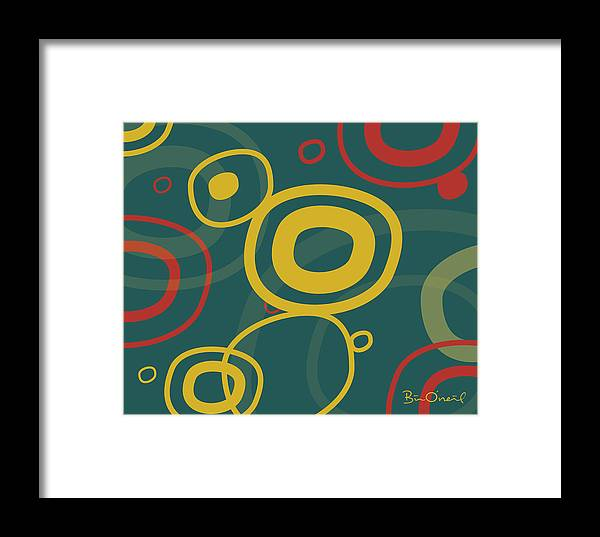 Retro Framed Print featuring the print Gogo - Retro-modern Abstract by Bill ONeil