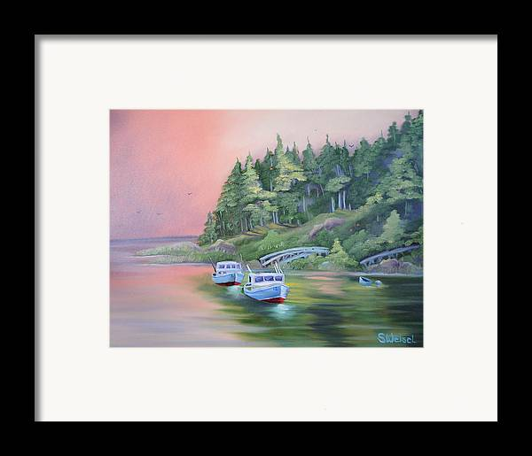 Boat Fish Pond Lake Ocean Sea Tree Bridge Landscape Water Scape Dingy Orange Purple Red Blue Cream Framed Print featuring the painting Goin Fishin by Sherry Winkler