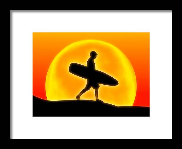 Sunset Framed Print featuring the digital art Goin' For A Surf by Andreas Thust