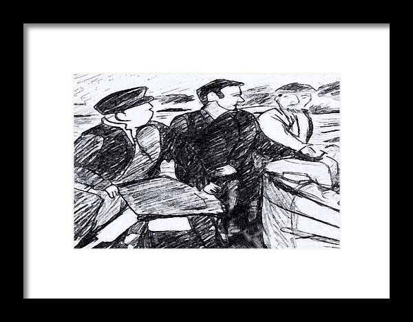 Saiors Framed Print featuring the drawing Going Fishing by Monica Engeler