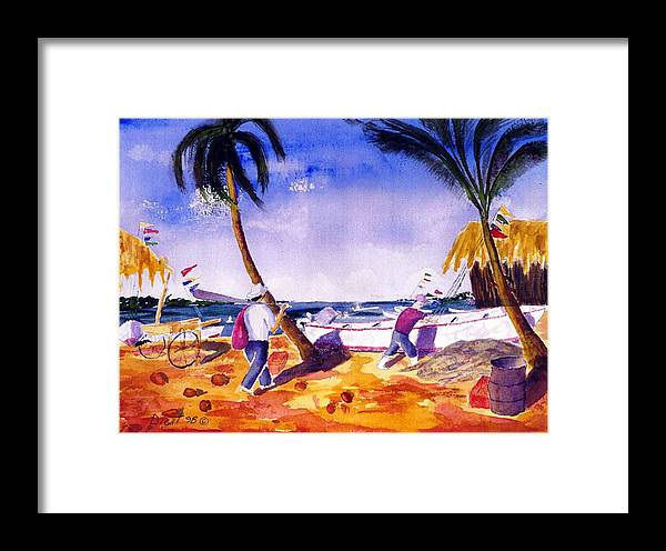 Seascape Framed Print featuring the painting Going For Evening Bite by Buster Dight