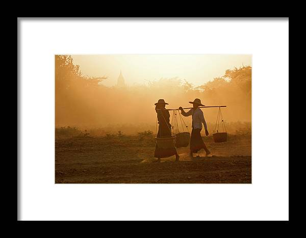 Asia Framed Print featuring the photograph Going Home At Sunset by Michele Burgess