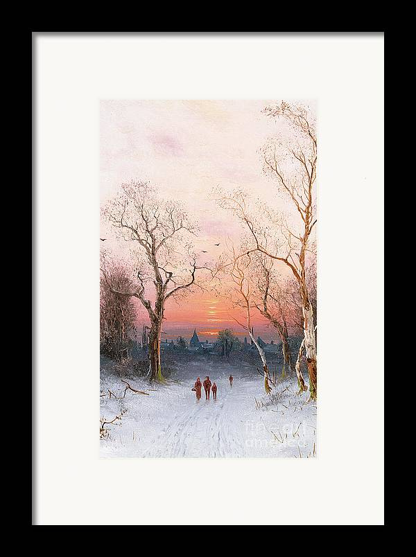 Sunset; Ice Framed Print featuring the painting Going Home by Nils Hans Christiansen