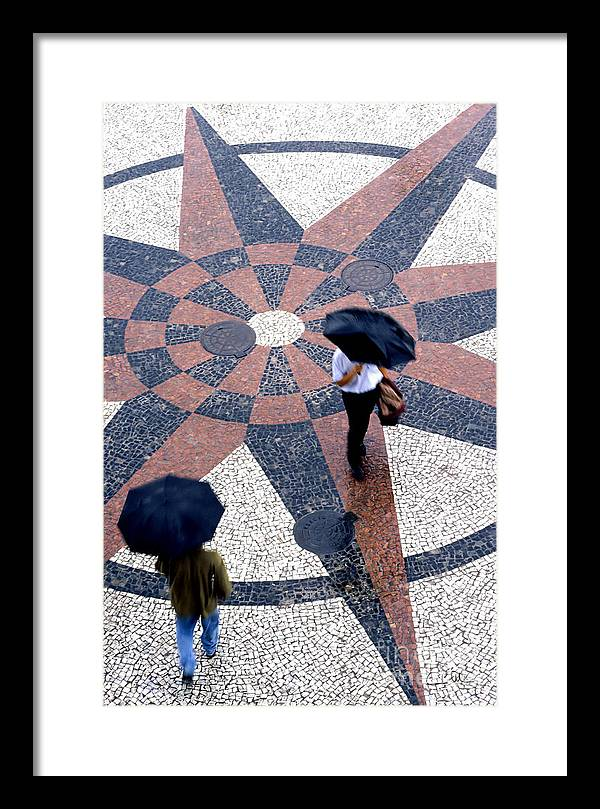 North Framed Print featuring the photograph Going North Going South - Umbrellas Series 1 by Carlos Alvim