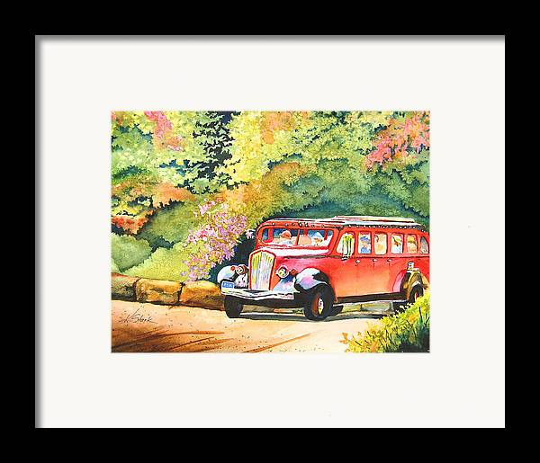 Landscape Framed Print featuring the painting Going To The Sun by Karen Stark