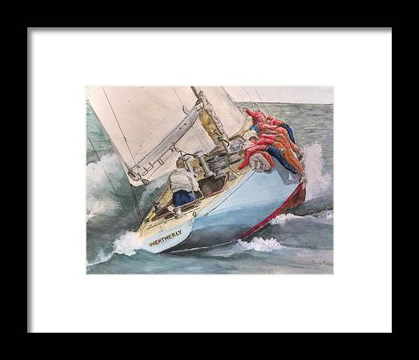 1962 America's Cup Winner Framed Print featuring the painting Going To Weather by Denise Beaulieu