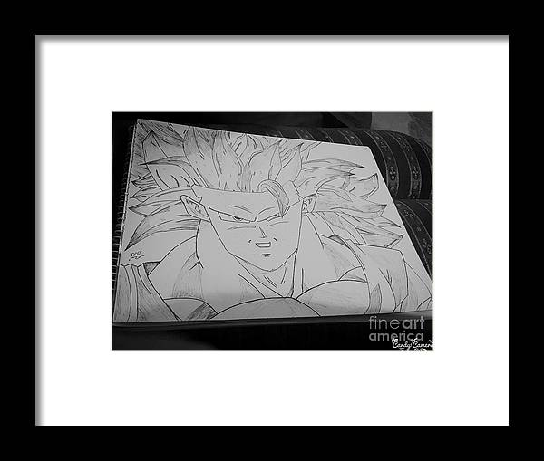 Cartoon Character Goku Dragon Ball Z Framed Print featuring the drawing Goku Dbz by Asim Abdul Rehman