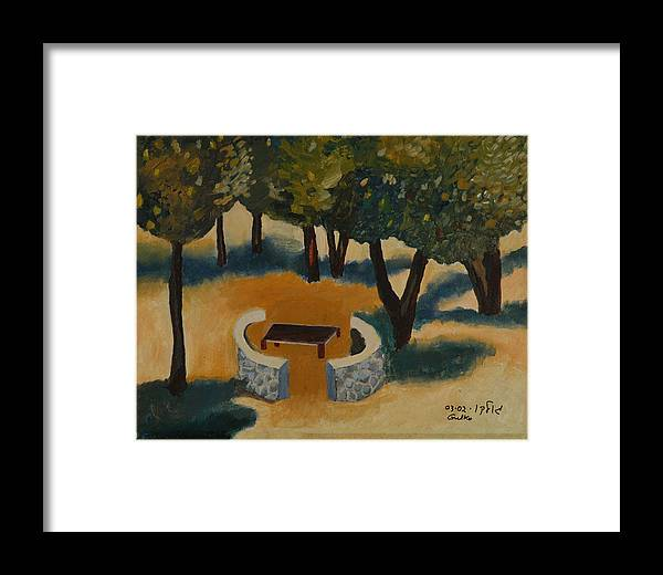 Picnic Countryside Framed Print featuring the painting Golan Picnic Area  by Harris Gulko