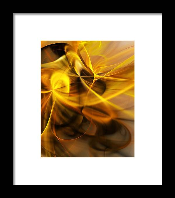 Fractal Framed Print featuring the digital art Gold and Shadows by David Lane