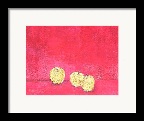 Fruit Framed Print featuring the painting Gold Apples On Red by Michela Akers