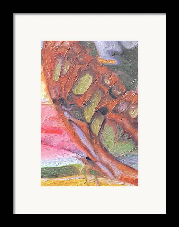 Butterfly Golden Framed Print featuring the painting Gold Butterfly Paintng Abstract by Don Wright