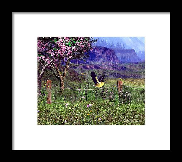 Birds Framed Print featuring the digital art Gold Finch In The Spring Time by John Junek