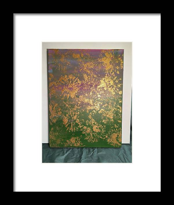 Gold Framed Print featuring the painting Gold Flowers by Taylor Cain