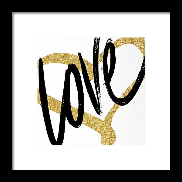 Gold Framed Print featuring the painting Gold Heart Black Script Love by South Social Studio