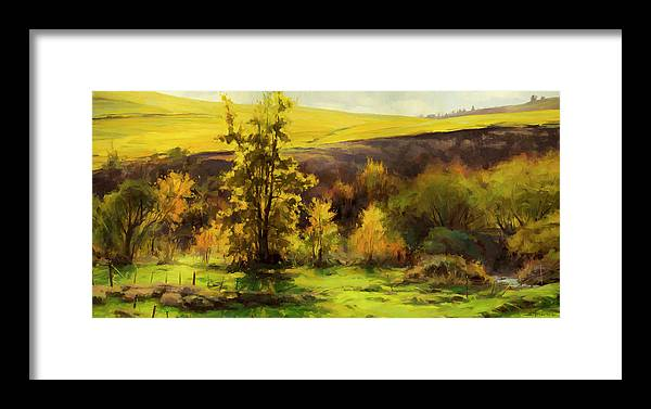 Landscape Framed Print featuring the painting Gold Leaf by Steve Henderson