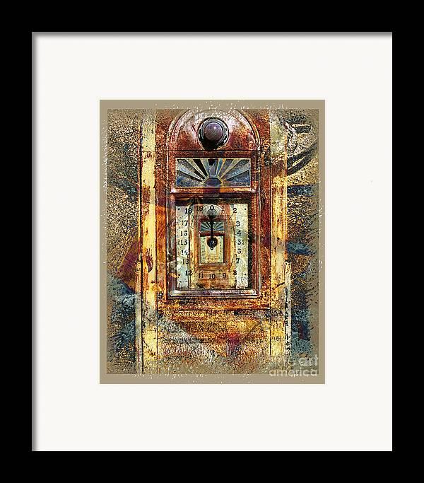 Gas Pump Framed Print featuring the digital art Gold Mine Gas Pump by Chuck Brittenham