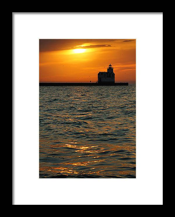 Lighthouse Framed Print featuring the photograph Gold On The Water by Bill Pevlor