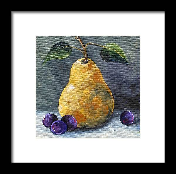Pear Framed Print featuring the painting Gold Pear With Grapes II by Torrie Smiley