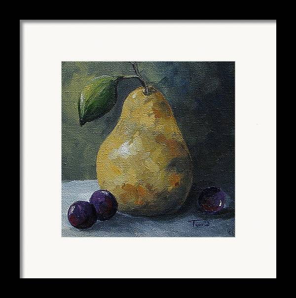 Pear Framed Print featuring the painting Gold Pear With Grapes by Torrie Smiley