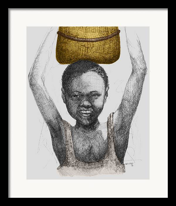 Africa Framed Print featuring the drawing Gold Treasure by Albert Fennell