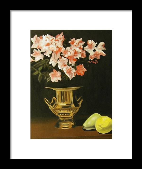 Still Life Framed Print featuring the painting Gold Vase With Fruit by Angelo Thomas